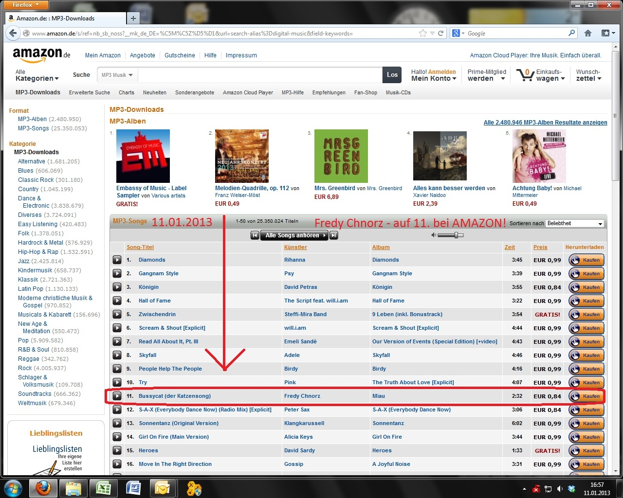 Fredy auf Platz 11 der Amazon Download Charts